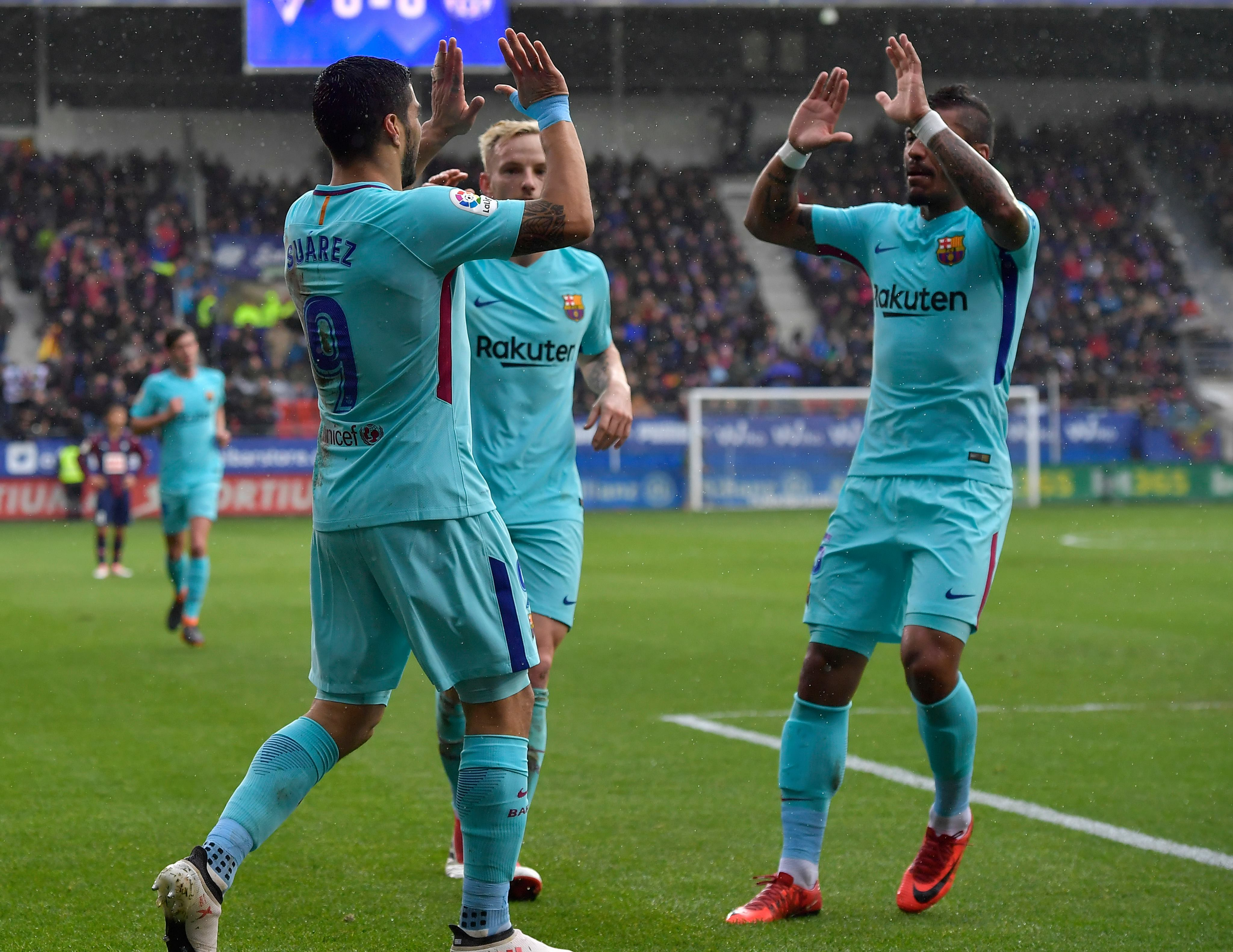 Barcelona celebrate scoring their opener against Eibar. Image: PA Images.